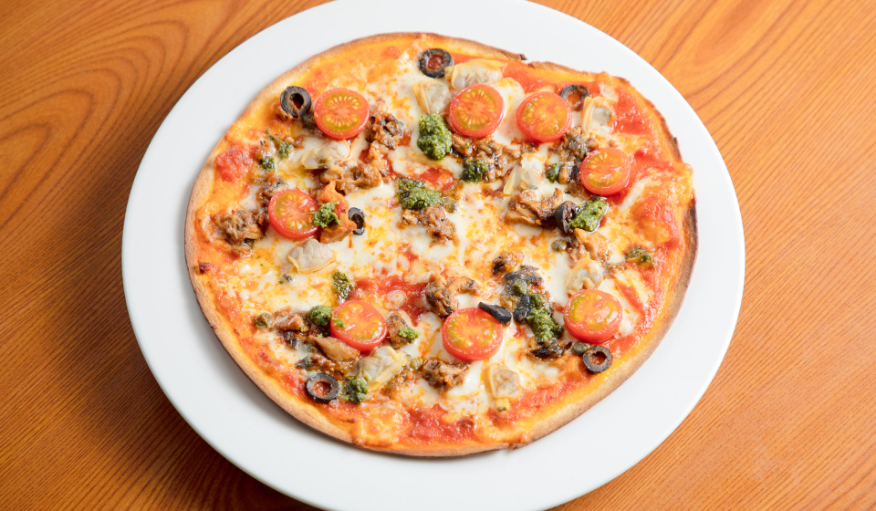 ぎん太さばのマリナーラ風ピザ